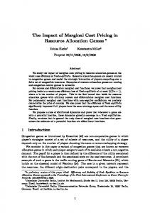 The Impact of Marginal Cost Pricing in Resource Allocation ... - TU Berlin