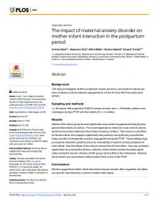 The impact of maternal anxiety disorder on mother-infant ... - PLOS