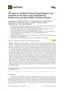 The Impact of Maternal Diet during Pregnancy and Lactation ... - MDPI