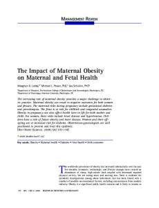 The Impact of Maternal Obesity on Maternal and Fetal Health (PDF ...