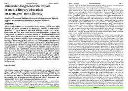the impact of media literacy education on teenagers' news literacy