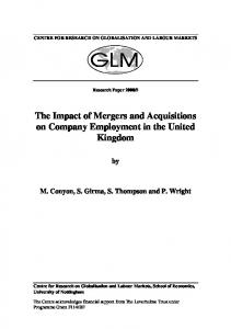 The Impact of Mergers and Acquisitions on Company Employment in ...