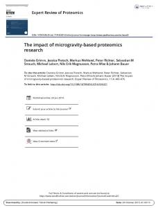 The impact of microgravity-based proteomics research