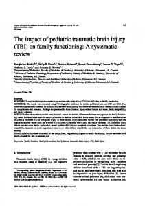 The impact of pediatric traumatic brain injury (TBI) on ... - IOS Press
