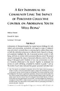 The Impact of Perceived Collective Control on Aboriginal ... - Pimatisiwin