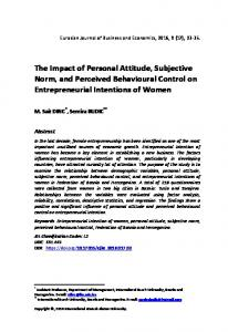 The Impact of Personal Attitude, Subjective Norm, and Perceived ...