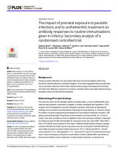The impact of prenatal exposure to parasitic infections and to ...