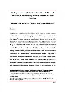 The Impact of Recent Global Financial Crisis on the Financial ...