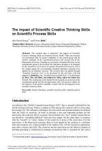 The Impact of Scientific Creative Thinking Skills on Scientific Process