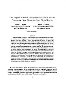 The Impact of Social Networks on Labour Market Outcomes: New ...