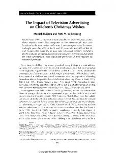 The Impact of Television Advertising on Children's Christmas Wishes.