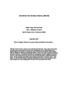THE IMPACT OF THE BOLL WEEVIL, 1892-1940 Fabian ... - CiteSeerX