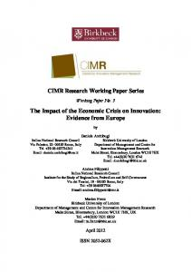 The Impact of the Economic Crisis on Innovation - Birkbeck, University ...
