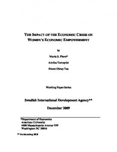 The Impact of the Economic Crisis on Women's ... - American University