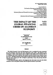 the impact of the global financial crisis on algerian economy