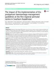 The impact of the implementation of the postpartum haemorrhage ...