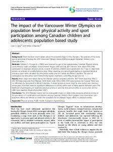 The impact of the Vancouver Winter Olympics on population level ...