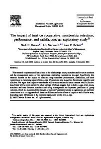 The impact of trust on cooperative membership ... - AgEcon Search