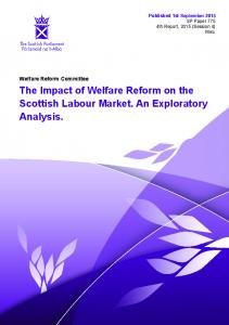 The Impact of Welfare Reform on the Scottish Labour Market. An ...
