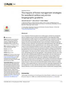 The impacts of forest management strategies for woodland ... - Plos