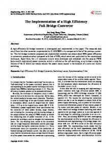 The Implementation of a High Efficiency Full-Bridge Converter