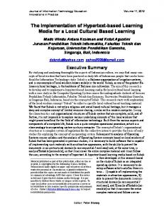 The Implementation of Hypertext-based Learning Media for a Local