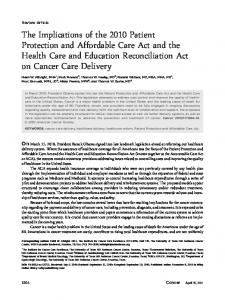 The implications of the 2010 patient protection and affordable care act ...