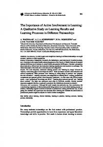 The Importance of Active Involvement in Learning: A ... - Springer Link