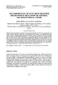 the importance of electron transfer mechanism in reactions of neutral