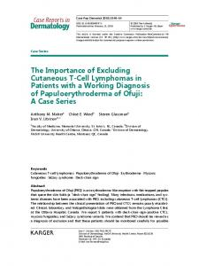 The Importance of Excluding Cutaneous T-Cell ... - Karger Publishers