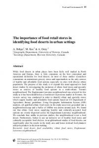 The importance of food retail stores in identifying food deserts in urban ...