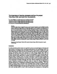 The importance of learning strategies and how the project ... - Eric
