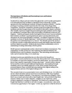 The Importance of Mediation and Peacemaking in Law ... - SSRN papers