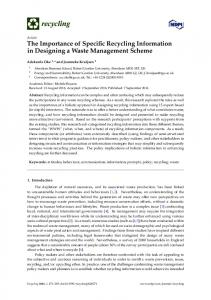 The Importance of Specific Recycling Information in Designing ... - MDPI
