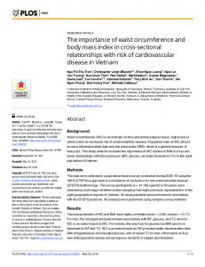 The importance of waist circumference and body mass index ... - PLOS
