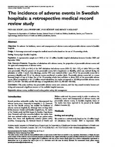 The incidence of adverse events in Swedish ... - Semantic Scholar