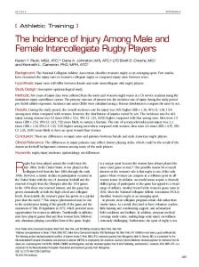 The Incidence of Injury Among Male and Female ... - SAGE Journals