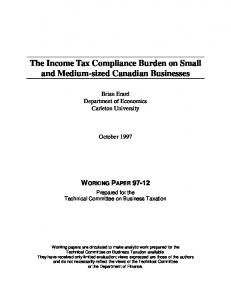 The Income Tax Compliance Burden on Small and ... - CiteSeerX