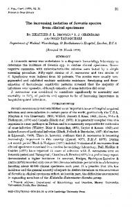 The increasing isolation of Serratia species from clinical ... - Europe PMC