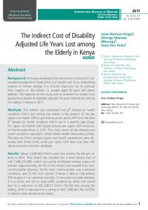 The Indirect Cost of Disability Adjusted Life Years Lost ...