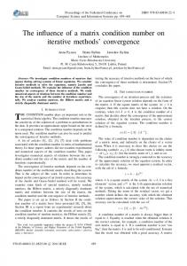 The influence of a matrix condition number on iterative methods ...