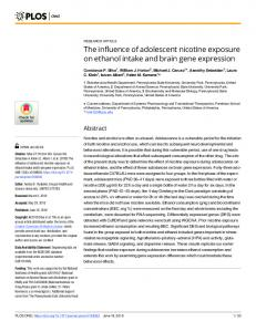 The influence of adolescent nicotine exposure on ethanol ... - PLOS