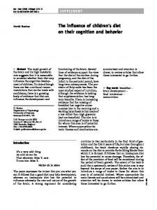 The influence of children's diet on their cognition and behavior
