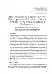 The Influence of Content on the Development of Students' Critical ...