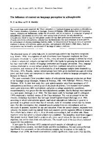 The influence of context on language perception ... - Wiley Online Library