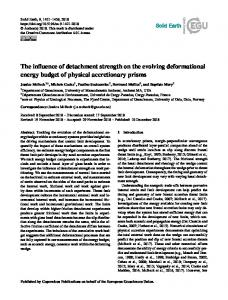 The influence of detachment strength on the evolving ... - Solid Earth