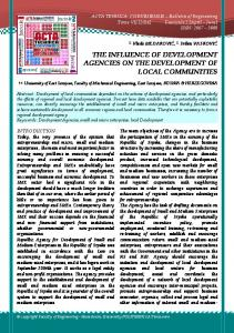 the influence of development agencies on the development of local ...