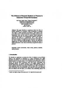 The influence of dynamic shadows on presence in ... - Semantic Scholar