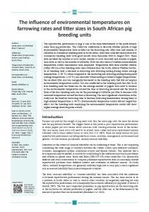 The influence of environmental temperatures on farrowing rates and ...