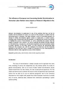 The Influence of European Law Concerning Gender Discrimination in